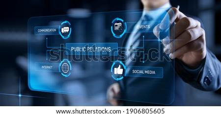 PR Public relations concept. Communication advertising marketing strategy. Stock photo ©