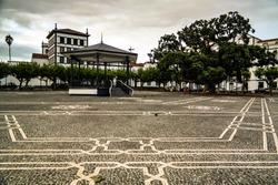 Praca 5 Outubro square of Ponta Delgada and Igreja de Sao Jose at Sao Miguel, Azores, Portugal