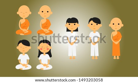 practice the dharma illustration of monk cartoon,girl cartoon,boy cartoon