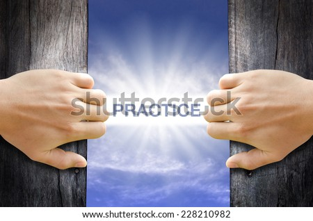 Practice word floating and shining in the sky while two hands opening an old wooden door