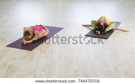 Practicing make them calm. Woman in yoga pose
