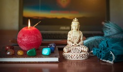 Practicing meditation at home. Online video training. Yoga balance, chakras cleaning, relaxation concept.