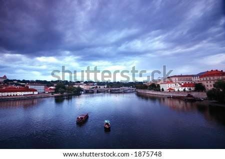 Prage scenic on rainy day - stock photo