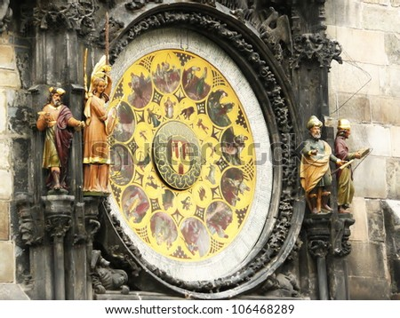 Prague Astronomical Clock (Prague Orloj) - on wall of Old Town City Hall in Old Town Square in Prague in Czech Republic