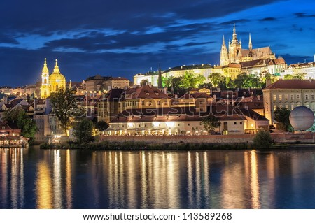 Prague at night, view of the Charles Bridge (Karluv Most) and castle. Prague Castle is the biggest ancient castle in the world.