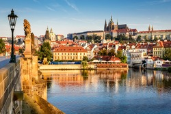 Prague, Bohemia, Czech Republic. Hradcany is the Praha Castle with hurches, chapels, halls and towers from every period of its history.