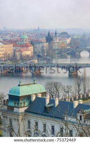 Prague Bridges and Vltava river breathtaking view, Bohemia, Czech Republic