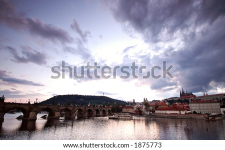 Prague bridges at sunset
