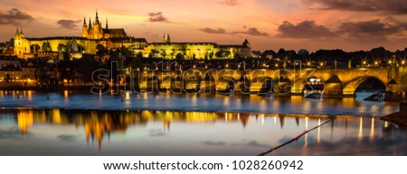 Prague Castle after sunset. Central Europe, Czech republic