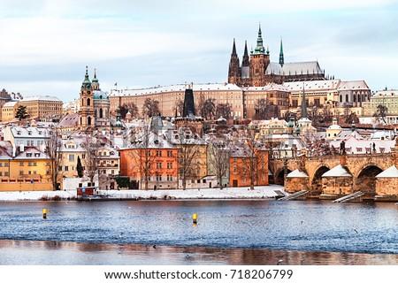 Prague Castle and Charles Bridge at winter, Czech Republic. Stock photo ©