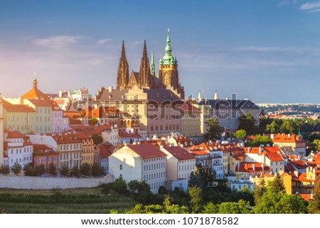 Prague Castle and Saint Vitus Cathedral, Czech Republic. Panoramic view #1071878582
