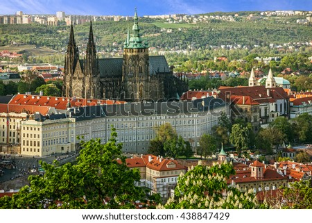 Prague Castle and Saint Vitus Cathedral, Czech Republic. Panoramic view Stock photo ©