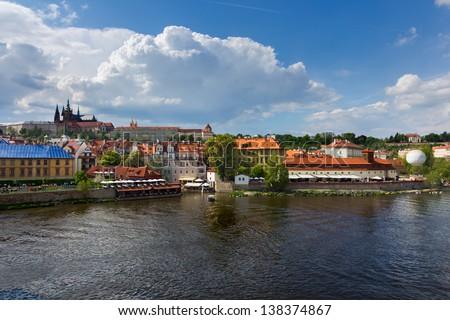 Prague castle as seen from Charles Bridge and Vltava river, Czech Republic