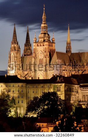 Prague Castle at night. Some scaffolding visible.