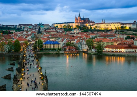 Prague Castle, Charles Bridge and Vltava, Prague, capital of Czech Republic