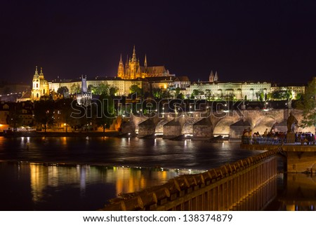 Prague castle, Charles Bridge and Vltava river at night, Czech Republic