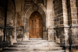 Prague Castle - Gothic architecture of st. Vitus cathedral back door. Czech Republic. Travel photography