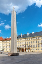 Prague Castle Obelisk, or Mrakotin Monolith, on Third courtyard of Prague Castle, Prague, Czech Republic