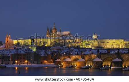 Prague Castle with Charles bridge in winter, Prague, Czech Republic