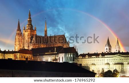 Prague Castle with rainbow - Czech republic