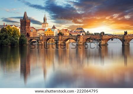 stock photo prague charles bridge czech republic 222064795 - Каталог — Фотообои «Мосты»