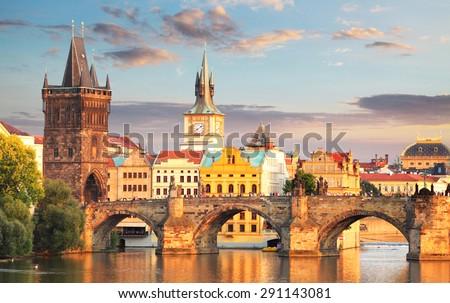 stock photo prague charles bridge czech republic 291143081 - Каталог — Фотообои «Мосты»