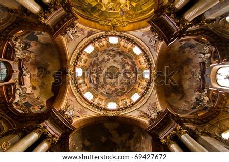 Prague - cupola of st. Nicholas church - scene of The celebration of saint Nicholas