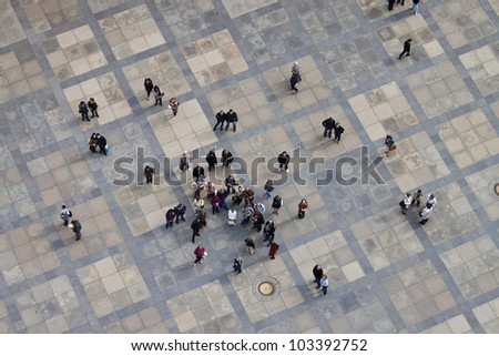 PRAGUE, CZECH REPUBLIC - APRIL 20: Aerial view of the third courtyard of Prague castle in Prague on April 20, 2012. Prague Castle is the biggest castle in the world at about 570 meters in length.