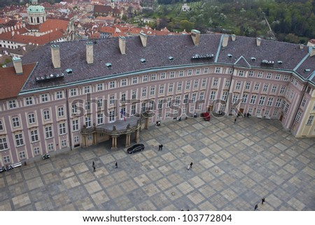 PRAGUE, CZECH REPUBLIC - APRIL 20: Aerial view of the third courtyard of Prague castle in Prague on April 20, 2012. Prague Castle is the biggest castle in the world at about 570 metres in length. - stock photo
