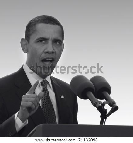 PRAGUE, CZECH REPUBLIC - APRIL 5. President of the USA Barack Obama presents speech on April 5, 2009 in Prague, Czech Republic. President Obama introduced orientation of his foreign policy. - stock photo