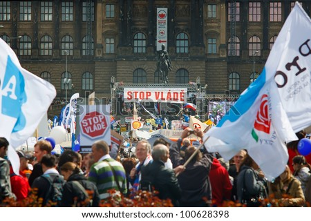 PRAGUE, CZECH REPUBLIC - APRIL 24: Wenceslaw square, Prague, full of people during protest event Stop Vlade on April 24, 2012 - stock photo