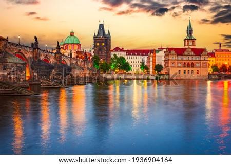 Prague, Czech Republic. Charles Bridge over Vltava River sunset and Stare Mesto, Bohemia famous place in Europe Stock photo ©