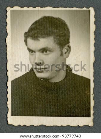 PRAGUE , CZECH REPUBLIC , CIRCA 1950 - An unidentified young man - Portrait - stock photo