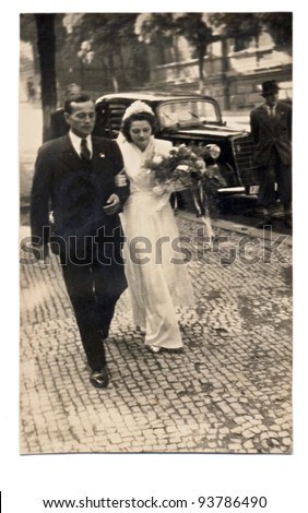 PRAGUE , CZECH REPUBLIC , CIRCA 1945 - married couple on Wenceslas Square