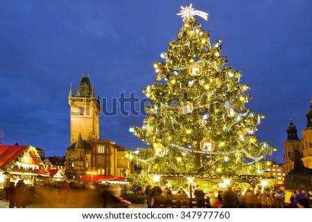 PRAGUE, CZECH REPUBLIC- DEC 02, 2015: Prague Christmas market on Old Town Square. Centre of Prague is UNESCO protected.