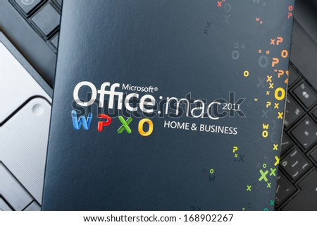 PRAGUE, CZECH REPUBLIC - DECEMBER 27, 2013: Photo of a Box With Microsoft Office for Mac Software Placed on Notebook