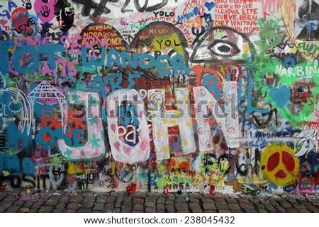 PRAGUE, CZECH REPUBLIC - DECEMBER 09: The Lennon Wall since the ...