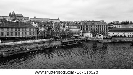 PRAGUE, CZECH REPUBLIC - FEBRUARY 02, 2014: View of old Prague and St. Vitus Cathedral. Black and White. Stylized film. Large grains