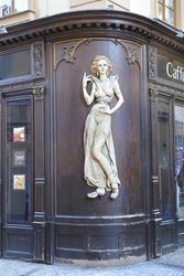 Prague, Czech Republic, female sculpture in art nouveau style on corner of a building