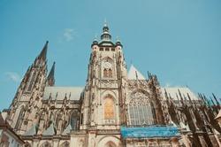 PRAGUE, CZECH REPUBLIC - July 25, 2013: Cathedral of St. Vitus, Wenceslas and Vojtec.  building restoration