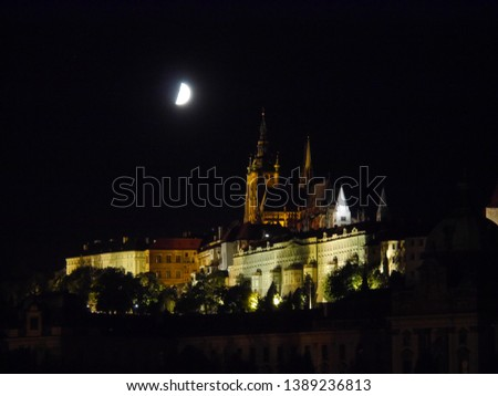 Prague/ Czech Republic- July 1. 2017 : Nightly Views of the historic center of the city of Prague . #1389236813