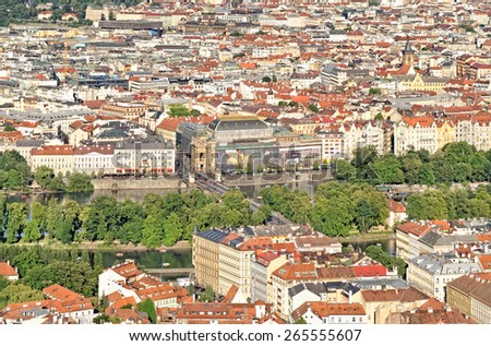 PRAGUE, CZECH REPUBLIC - JULY 3, 2014: Panorama of Prague and National Theatre building seen from Petrin Hill Observation Tower. #265555607