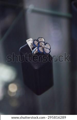 PRAGUE, CZECH REPUBLIC - JUN 29, 2015: Articles in the  Lapis diamond shop in Prague. Lapis Diamond is the main jewelry brand in Czech Republic