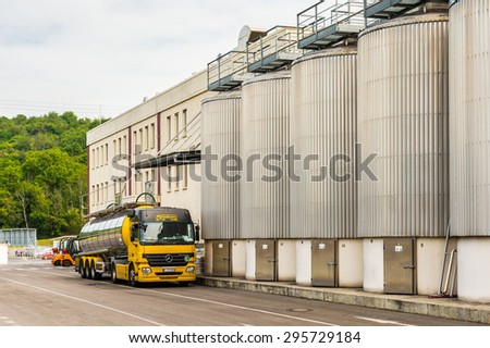 PRAGUE, CZECH REPUBLIC - JUN 30, 2015: Terriatory of the Brewery of the Krusovice beer. Krusovice is popular  and famous worldwide Czech beer #295729184