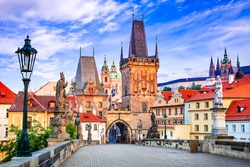 Prague, Czech Republic. Mala Strana medieval downtown of Praha, Bohemia medieval kingdom and imperial city.