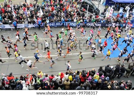 PRAGUE, CZECH REPUBLIC - MARCH 30: Hobby runners start in the Hervis Half Marathon, March 30, 2012 in Prague, Czech republic.
