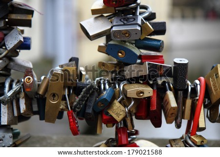 PRAGUE, CZECH REPUBLIC - MARCH 12, 2012. Love locks on the Charles Bridge in Prague on March, 2012.