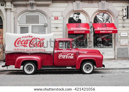 stock photo prague czech republic may a red retro car ford f with advertising inscription coca cola on 421421056 - Каталог — Фотообои «Ретро»