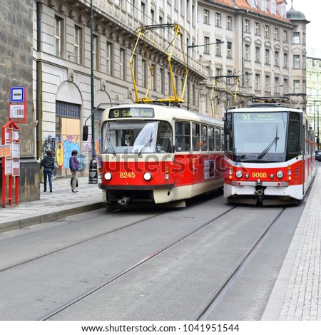 PRAGUE, CZECH REPUBLIC - May 7, 2017: Old tram in the streets of the city.