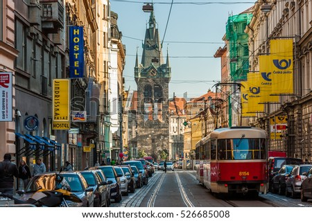 PRAGUE CZECH REPUBLIC - OCT 01: Tram at old street in Prague, Czech Republic on October 01, 2013. Prague historical Center, including most of the city major sites, became a UNESCO-listed site in 1992.